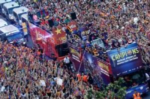 Pesta Treble Winners Barcelona