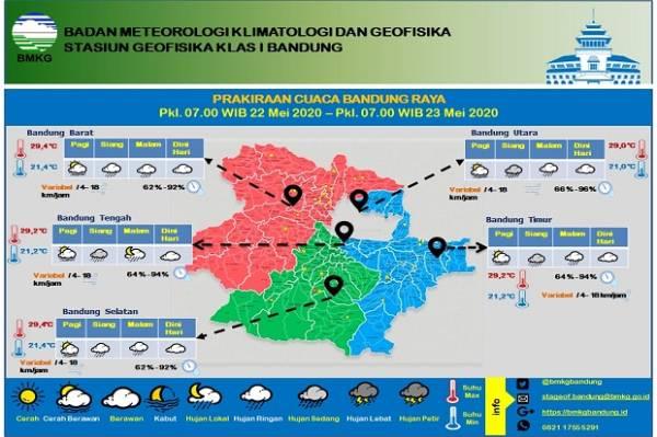 Hujan Sedang Landa Bandung Utara, Timur, dan Tengah Siang atau Sore Ini