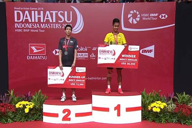 Anthony Ginting Juara Tunggal Putra Indonesia Masters 2018
