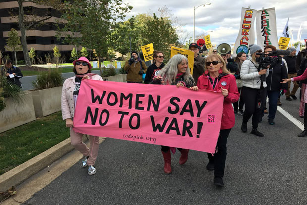 Protesters March Against Wars Near Pentagon