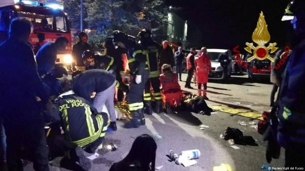 Several die in stampede at Italian nightclub