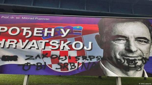 Serb party billboards vandalized with hate messages in Croatia
