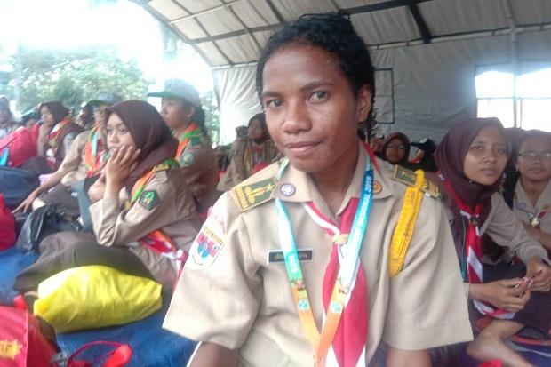 Tebar Pesan Damai, Pramuka asal Papua Ini Bangga Ikut Pertikawan 2019