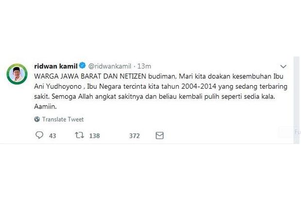 Gubernur Jawa Barat Ridwan Kamil mengajak warga Jabar dan netizen untuk mendoakan Ibu Ani Yudhoyono yang kini tengah dirawat di Singapura lantaran menderita penyakit kanker darah. Tangkapan layar @ridwankamil