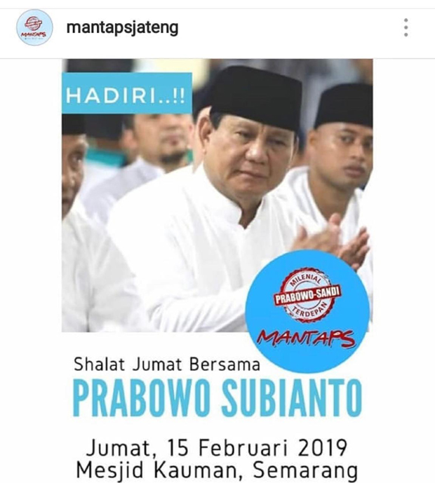 Bukan Larang Prabowo Salat Jumat, Ini Penjelasan Takmir Masjid Agung Semarang