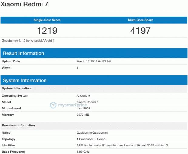 Dirilis Hari Ini, Redmi 7 Hadir di Geekbench dengan RAM 4 GB dan SD625