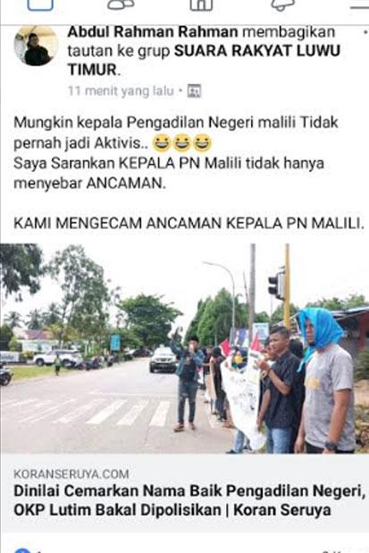 Pelaku Pencemaran Nama Baik Ketua PN Malili Jadi Tersangka