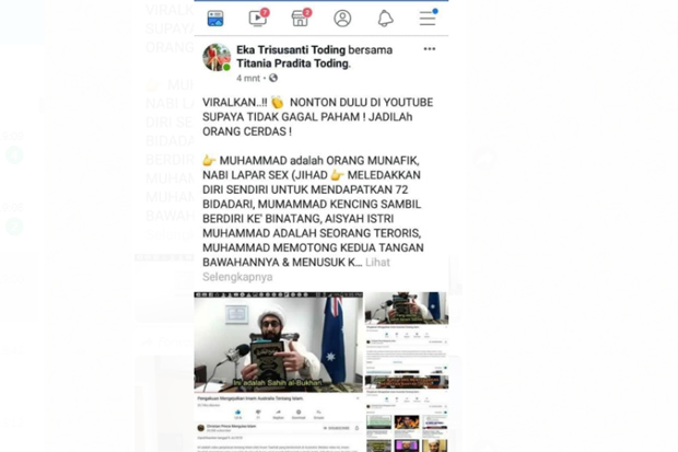 Hina Nabi Muhammad di Facebook, Warga Palopo Ditahan Polisi