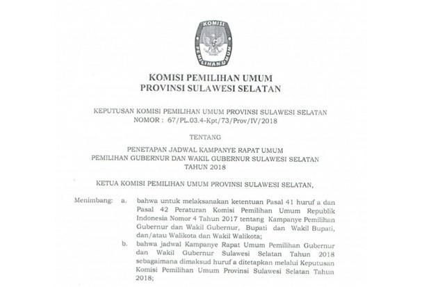 Sah, KPU Tetapkan Jadwal dan Lokasi Kampanye Akbar Pilgub Sulsel