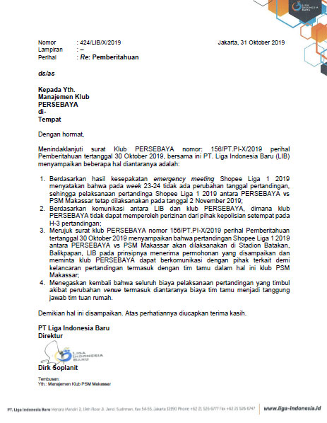Pertandingan Persebaya Vs PSM Makassar Dipindahkan ke Stadion Batakan